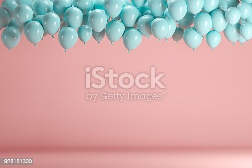 903520476 istock photo Blue balloons floating in pink pastel background room studio. minimal idea creative concept. 928181300