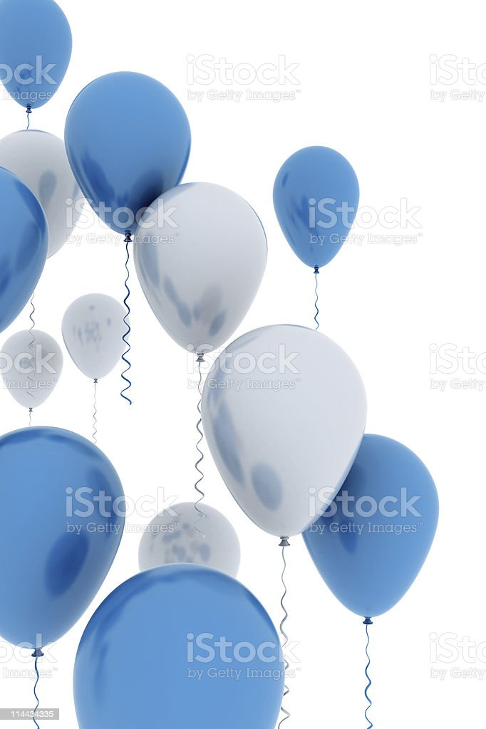 Blue balloons flying up stock photo