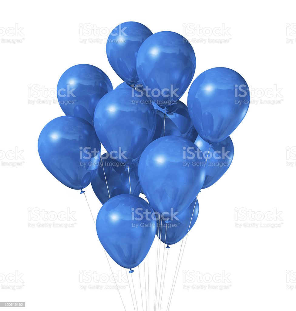 blue balloons isolated on white stock photo
