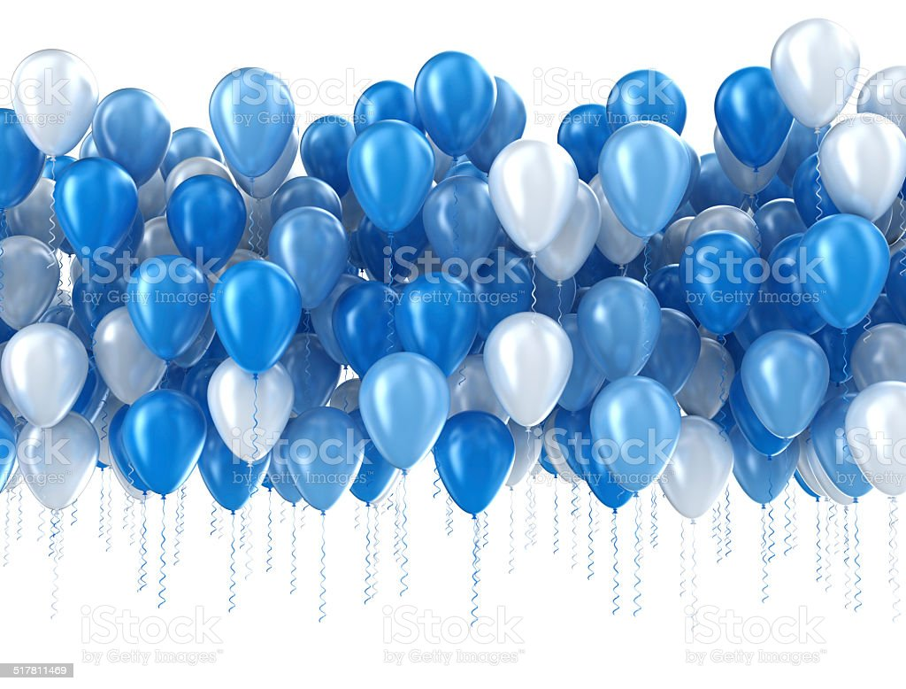 Blue balloons isolated stock photo