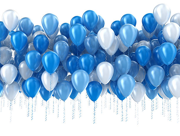 blue balloons isolated - anniversary stock photos and pictures