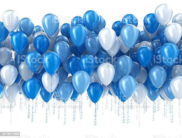 Photo libre de droit de Ballons Isolés Bleu banque d'images et plus d'images libres de droit de Ballon de baudruche