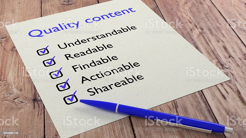 Blue ballpen quality content characteristics checklist stock photo