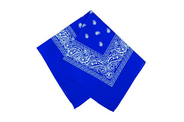 blue bandana isolated on white - lenço do pescoço imagens e fotografias de stock
