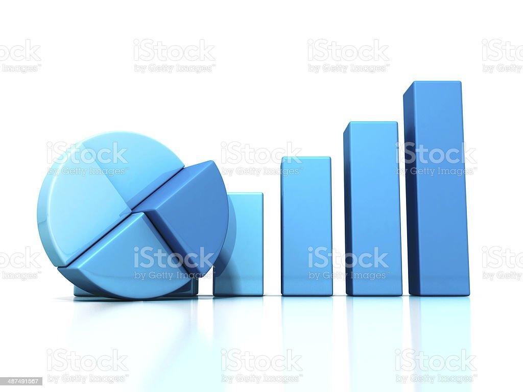 Die Blue bar und pie Diagramm auf reflection. business Erfolg – Foto