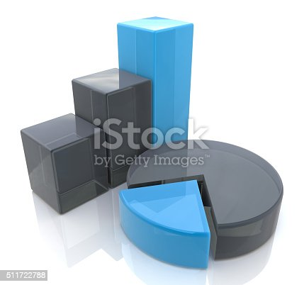 511722788 istock photo Blue bar and pie graph 511722788