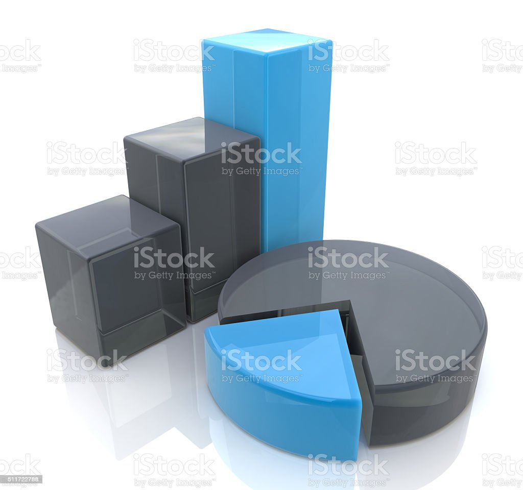 Blue bar and pie graph stock photo