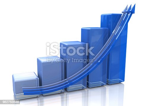 istock Blue bar chart and arrow depicting growth of profits in the design of information related to business and economy. 3d illustration 952753546