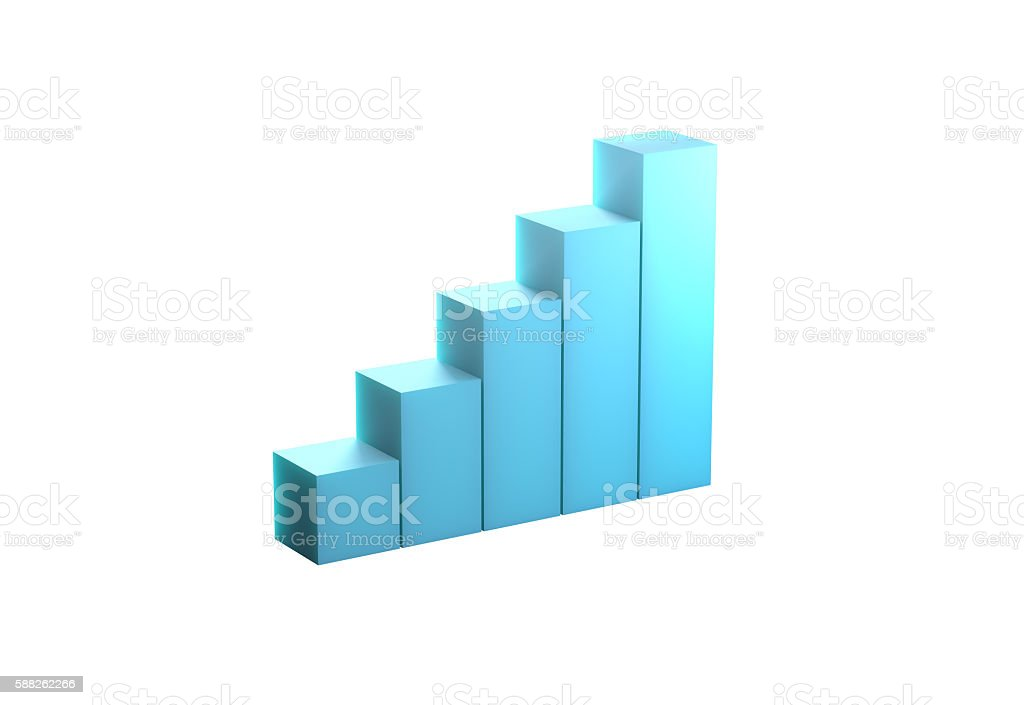 Blue bar chart high quality 3d rendering, stock photo