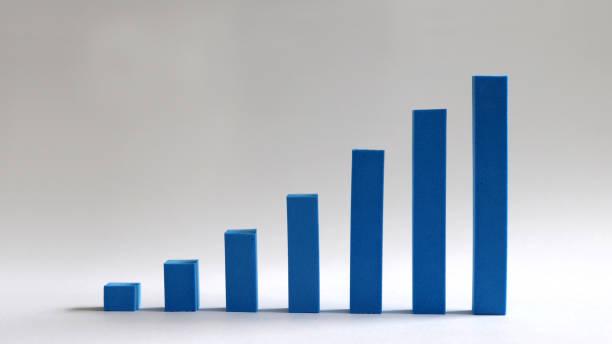 a blue bar graph handmade on a soft background. - diagramma a colonne foto e immagini stock