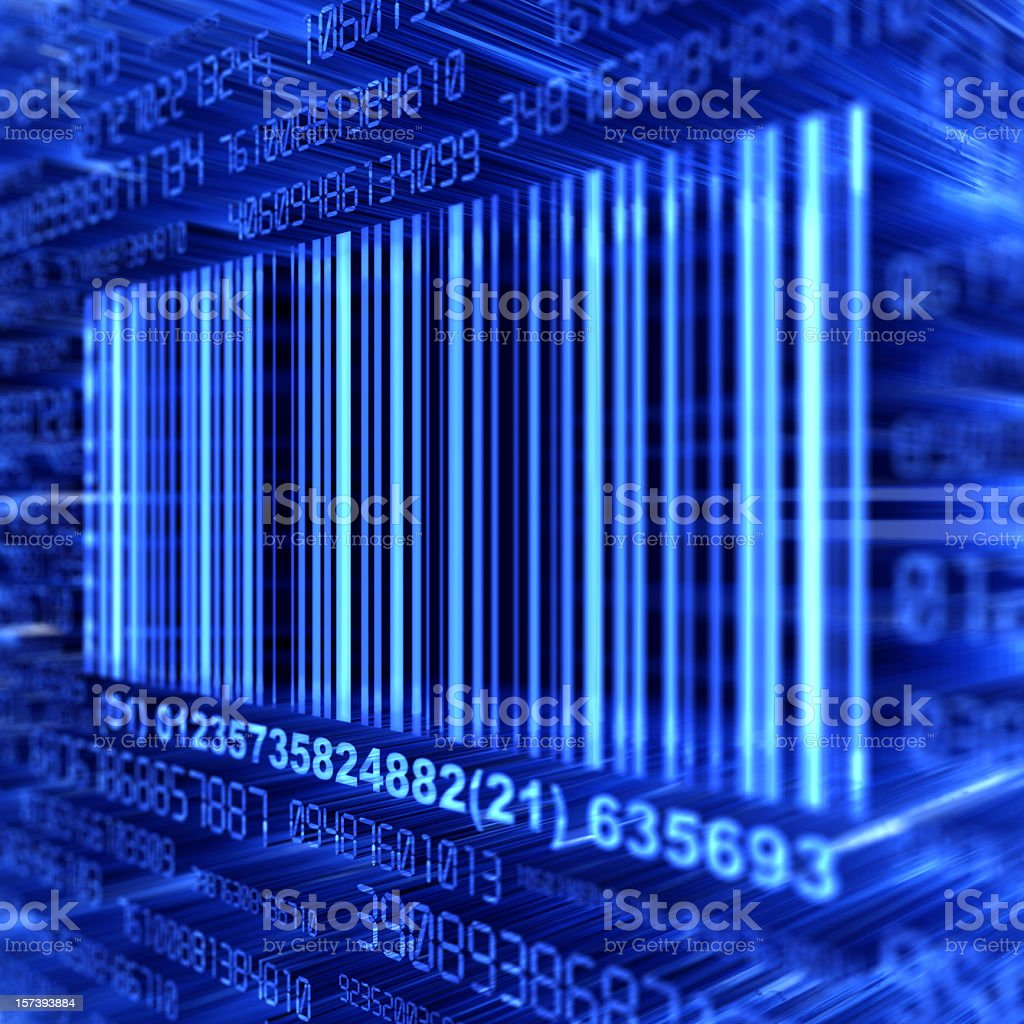 A blue barcode on a blue background stock photo