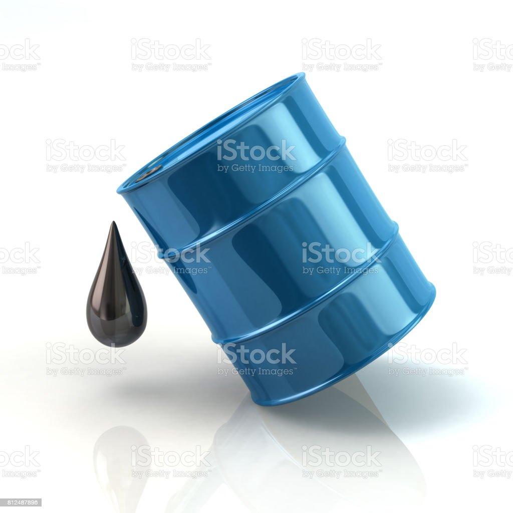 Blue barrel oil icon stock photo