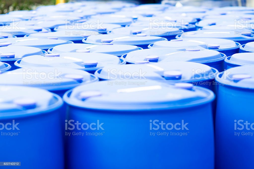 Blue Barrels stock photo
