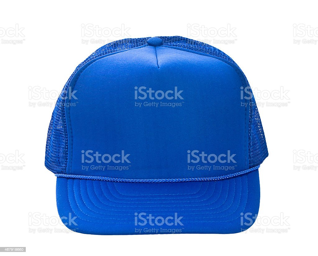 Blue baseball hat isolated on white