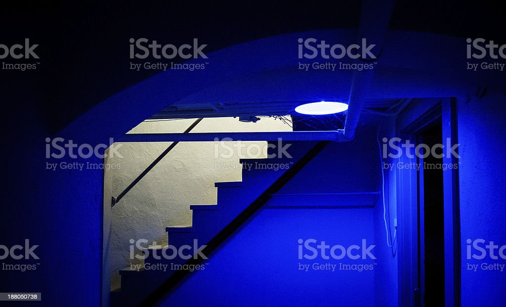 Blue Basement stock photo