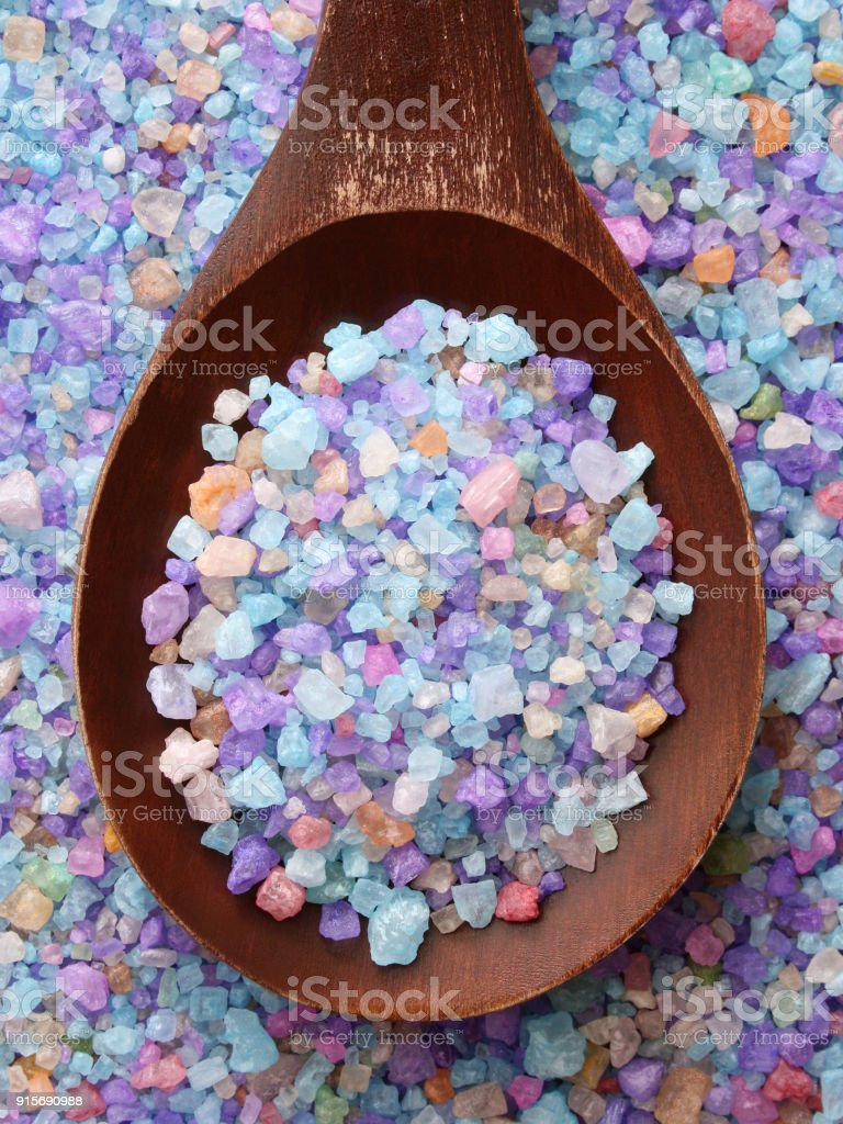 Blue bath salts stock photo