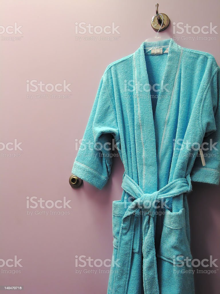 Blue Bathrobe stock photo