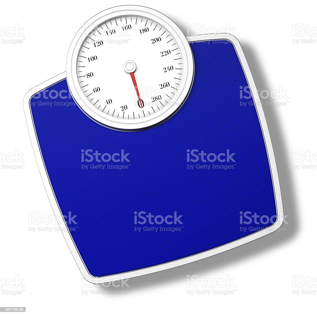 Blue Bathroom Scale isolated on withe stock photo