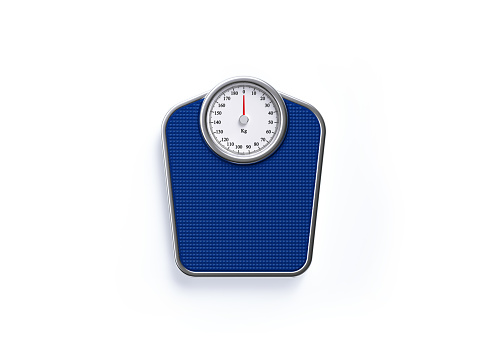 Blue weight scale on white background. Horizontal composition with clipping path and copy space. Directly above.