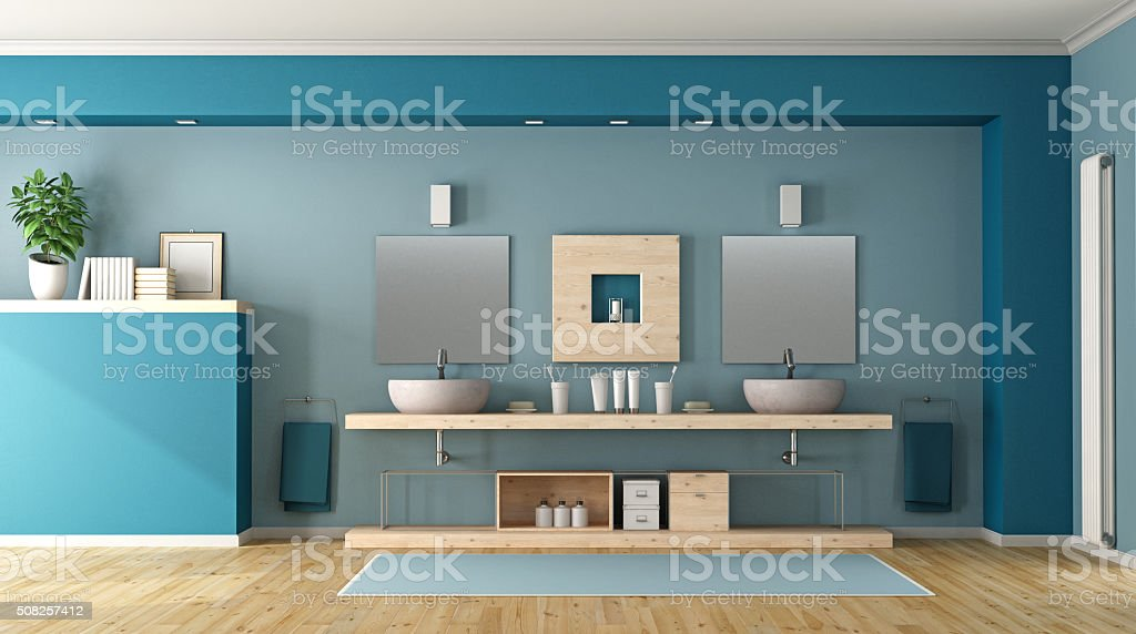 Blue bathroom with double sink stock photo