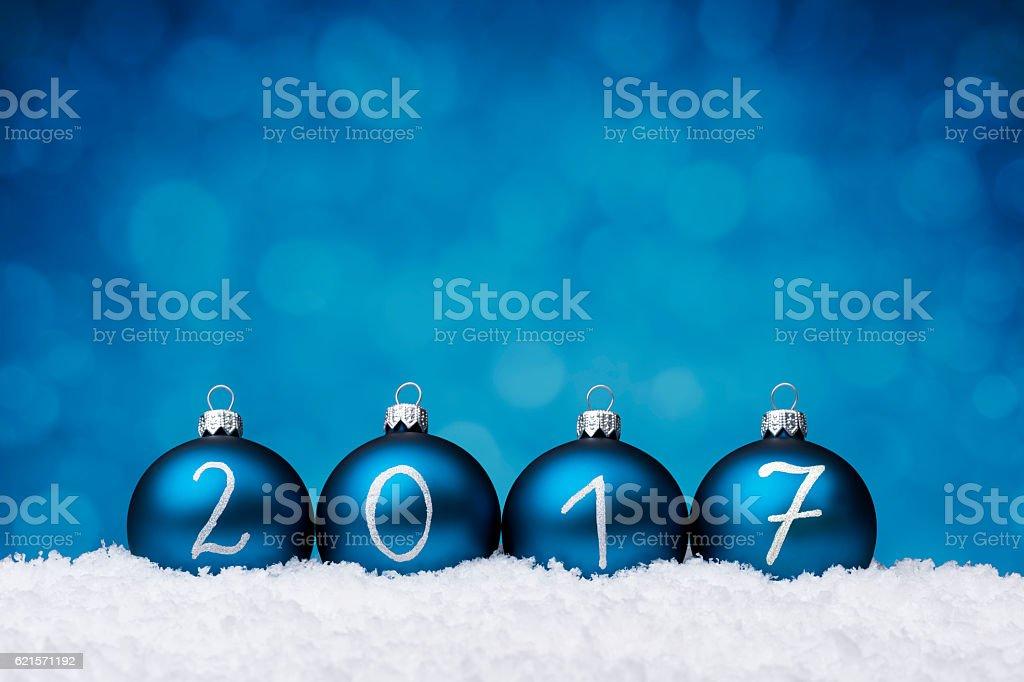Blue Baubles 2017 year photo libre de droits