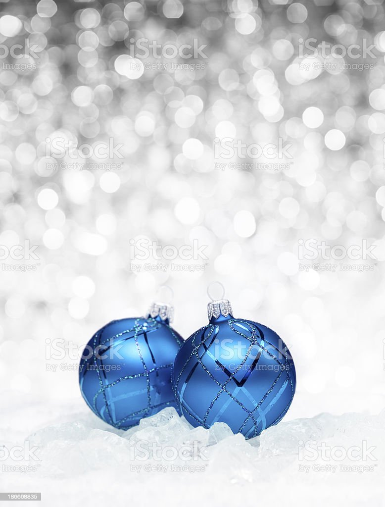 Blue Baubles on Ice royalty-free stock photo