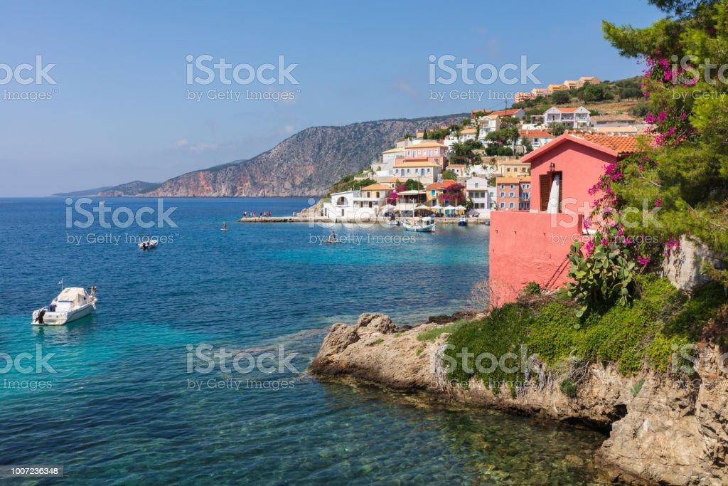 Blue bay of Ioanian sea island stock photo