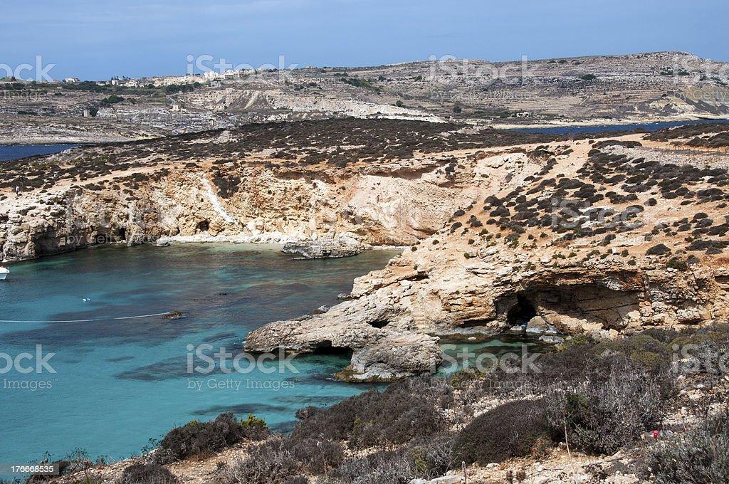 blue bay on gozo island royalty-free stock photo