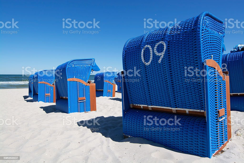 Blue Beach Chair royalty-free stock photo