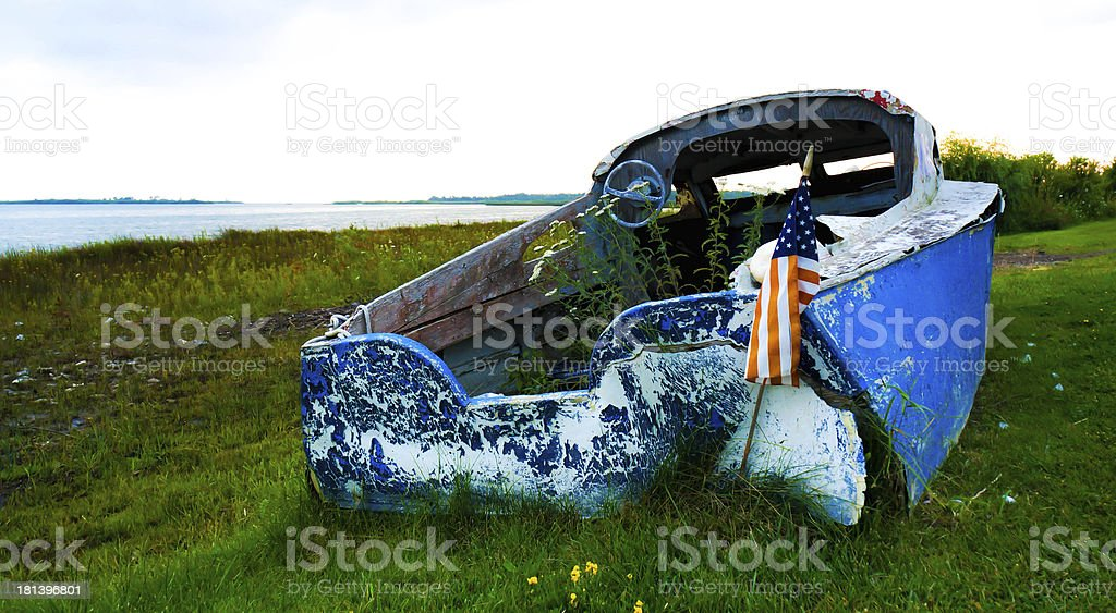 Blue Beached Boat royalty-free stock photo