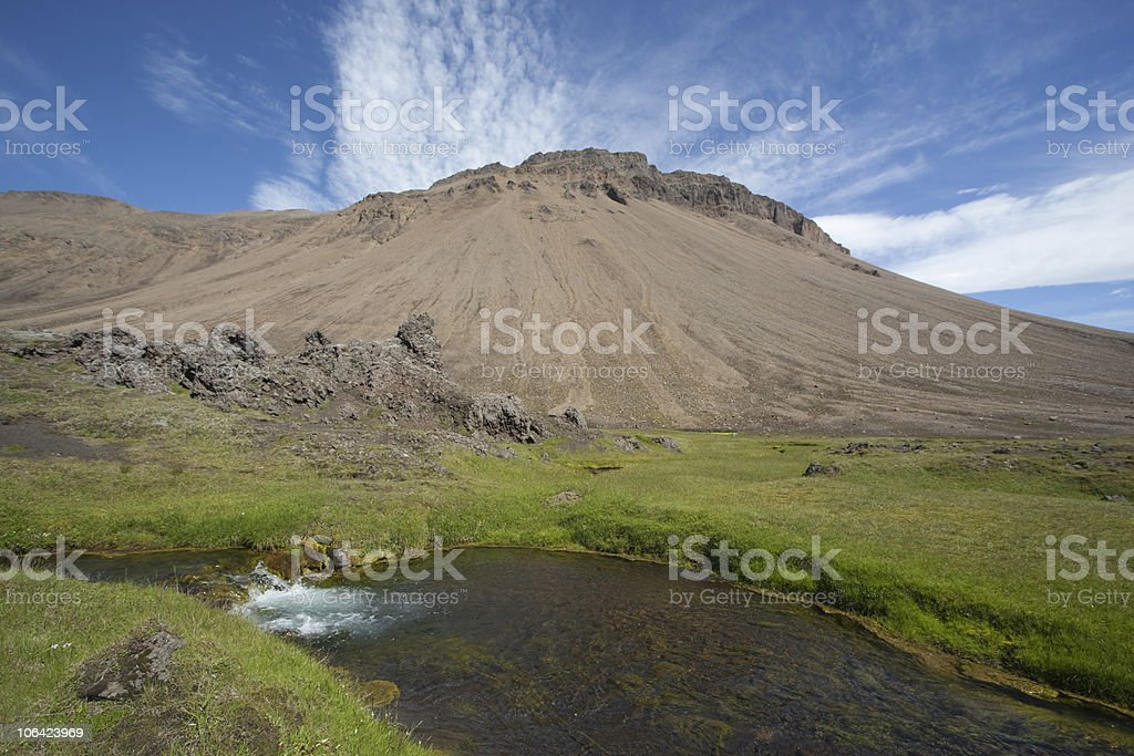 Blue beautiful sky mountain and samll brook royalty-free stock photo