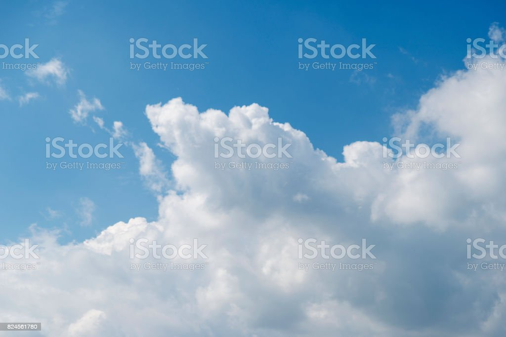 Blue Beautiful Sky With Snowwhite Clouds Of Different