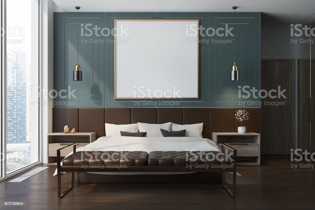 Blaue Schlafzimmer Interior Poster Stockfoto und mehr Bilder von Behaglich