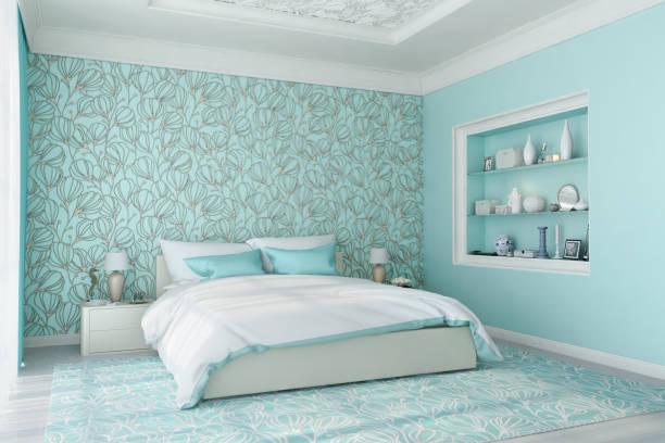 blue schlafzimmer - hellblaues zimmer stock-fotos und bilder