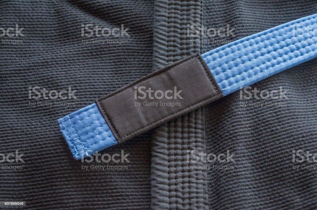 Blue belt of Brazilian Jiu-Jitsu stock photo