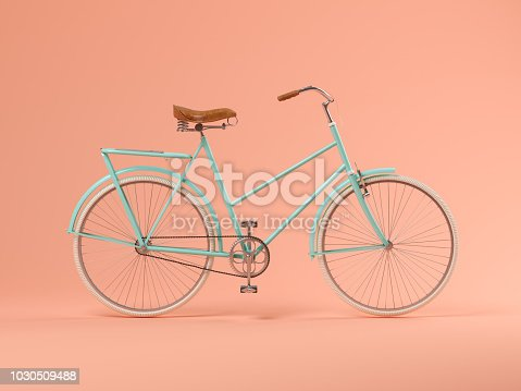 istock Blue bicycle on pink background 3D illustration 1030509488