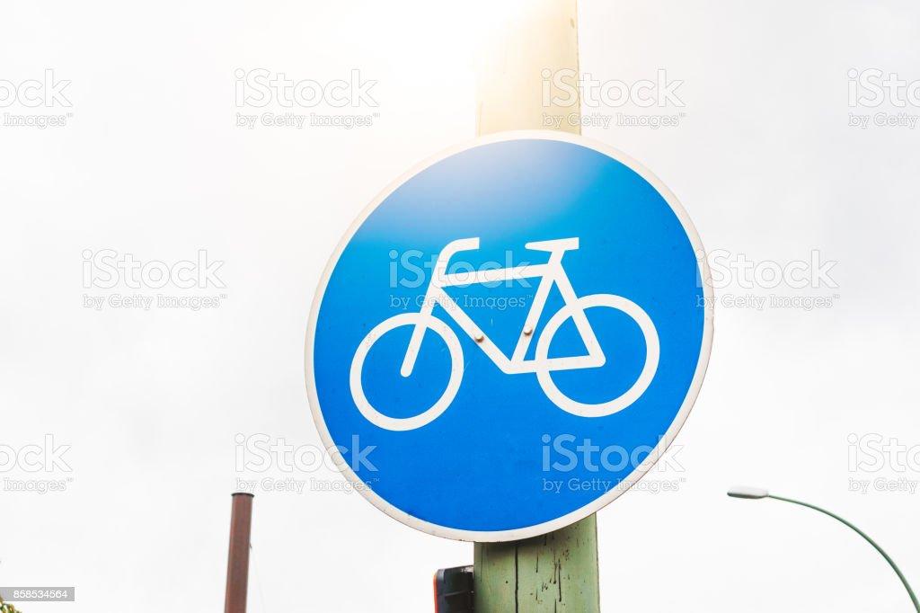 blaue Fahrrad Verkehrszeichen – Foto