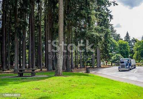 istock Blue big rig semi truck with loaded flat bed semi trailer standing on the rest area parking lot with old forest trees and place for launch 1286644972