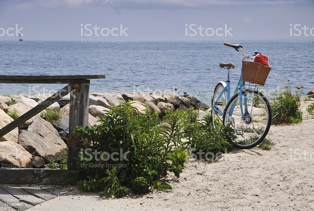 Blue Bike with Red Towel stock photo