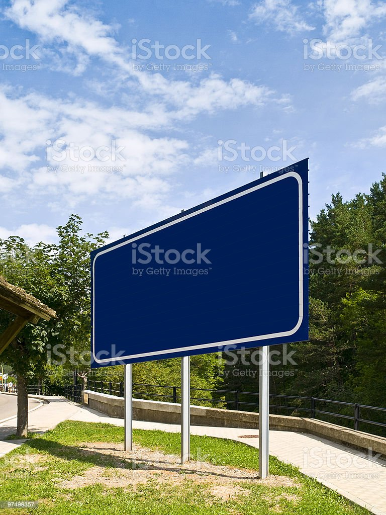Blue Billboard in a nature scenery royalty-free stock photo
