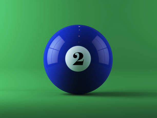 Blue Billiard Ball On Green Background stock photo