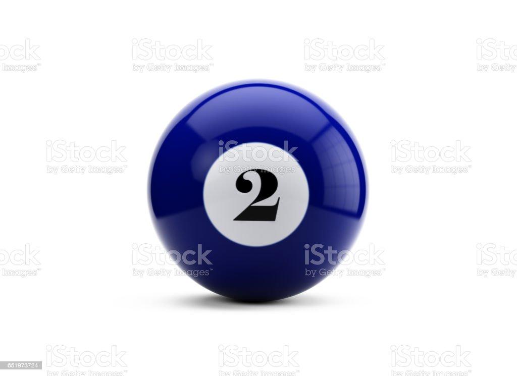 Bola de billar azul con fondo blanco aislado - foto de stock