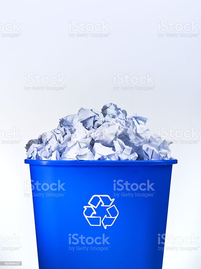 Blue bin recycle box royalty-free stock photo