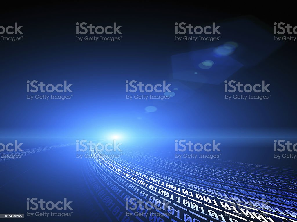 Blue binary code background - information concept royalty-free stock photo