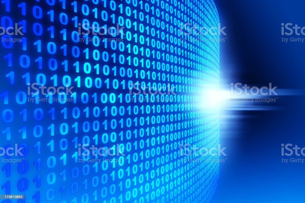 Blue binary code background with white accents stock photo