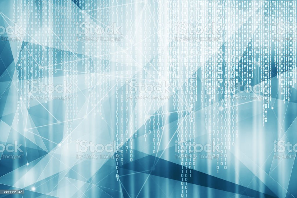 Blue binary code hitech background stock photo