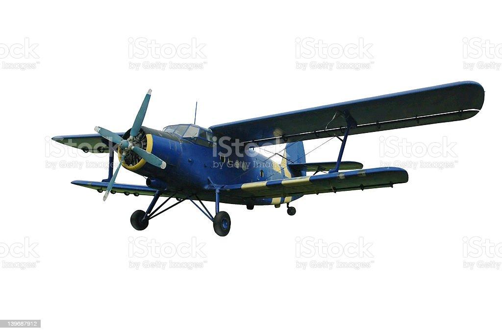 Blue biplane, isolated royalty-free stock photo