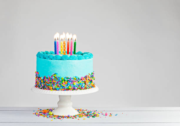 Blue Birthday Cake stock photo