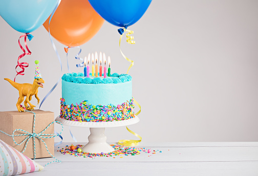Outstanding Blue Birthday Cake With Balloons Stock Photo Download Image Now Funny Birthday Cards Online Aeocydamsfinfo