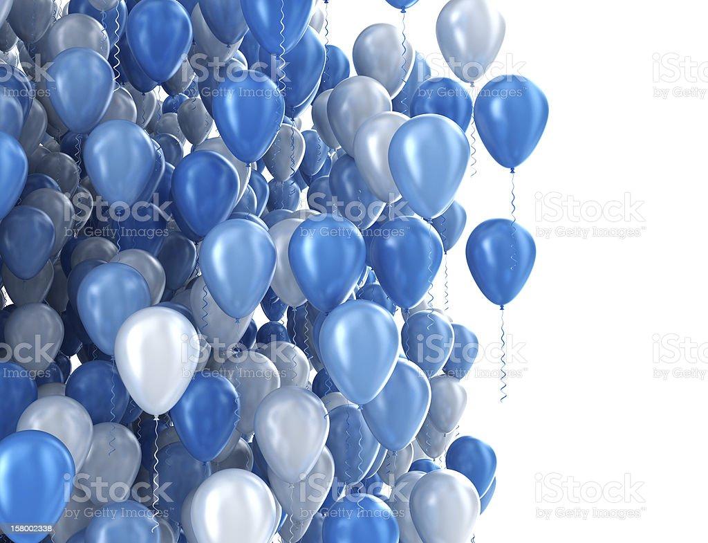 Blue birthday party balloons stock photo